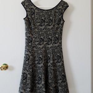 Maggie London Dress Women's 6 Tan Black Lace